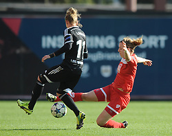 Bristol Academy captain Grace McCatty challenges FFC Frankfurt's Simone Laudehr - Photo mandatory by-line: Dougie Allward/JMP - Mobile: 07966 386802 - 21/03/2015 - SPORT - Football - Bristol - Ashton Gate Stadium - Bristol Academy v FFC Frankfurt - UEFA Women's Champions League - Quarter Final - First Leg