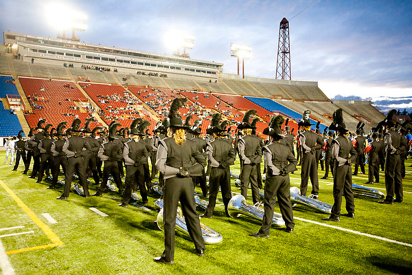 The Oregon Marching Band competes in their final competition at McMahon Stadium in Alberta, Canada on July 13, 2011.