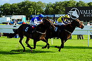 Society Star ridden by Angus Villiers and trained by Robert Cowell in the Aston Manor Cider Handicap (Class 5) race. Kodiak Attack ridden by Tom Marquand and trained by Sylvester Kirk in the Aston Manor Cider Handicap (Class 5) race.  - Ryan Hiscott/JMP - 17/08/2019 - PR - Bath Racecourse - Bath, England - Race Meeting at Bath Racecourse