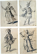 Guiseppe Arcimboldo (c1530-1593) Italian painter. Costume designs for classical deities. Diana/Artemis and Mars/Ares. Guiseppe Arcimboldo (c1530-1593) Italian painter. Pen, blue ink and watercolour on paper.