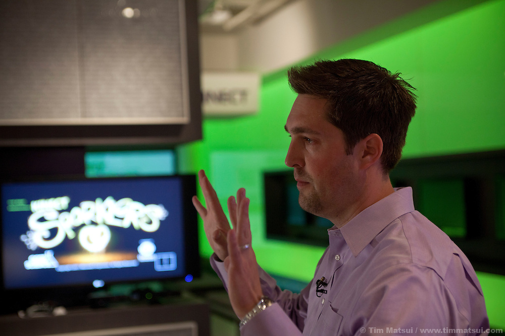 Josh Hutto, Director of Product Marketing for Xbox, discusses and demonstrates some of the new features for Xbox Kinect including finger tracking, voice recognition, new games, and voice control of television.