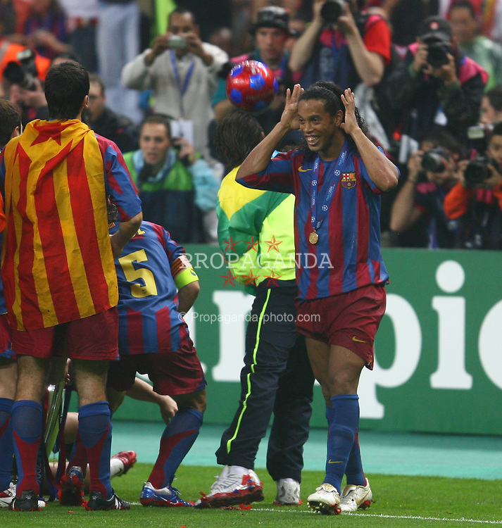 PARIS, FRANCE - WEDNESDAY, MAY 17th, 2006: FC Barcelona's Ronaldinho celebrates winning the European Cup during the UEFA Champions League Final at the Stade de France. (Pic by David Rawcliffe/Propaganda)