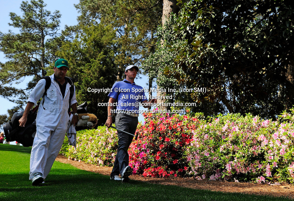 April 9, 2013 - Augusta, Georgia, U.S. - Rory McIlroy and his caddie J.P. Fitzgerald walk down the 6 fairway during the second practice round of the 2013 Masters Tournament at Augusta National Golf Club on April 9, 2013, in Augusta, Ga.
