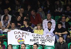 Fans of Gasper Vidmar and Emir Preldzic with poster at Euroleague basketball game in Round 9 of Group C between KK Union Olimpija, Ljubljana and Fenerbahce Ulker, Istanbul, on January 8, 2009, in Arena Tivoli, Ljubljana, Slovenia. Fenerbahce won 90:70. (Photo by Vid Ponikvar / SportIda).