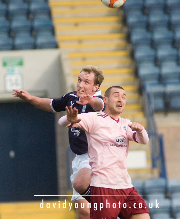Dundee's Gary Irvine and Raith Rovers' Joe Hamill - Dundee v Raith Rovers, Irn Bru Scottish Football League First Division at Dens Park..© David Young - 5 Foundry Place - Monifieth - DD5 4BB - Telephone 07765 252616 - email; davidyoungphoto@ggmail.com - web; davidyoungphoto.co.uk