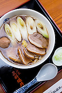 Soba noodle soup with duck. The Sarashina Horii Restaurant. Tokyo, Japan.