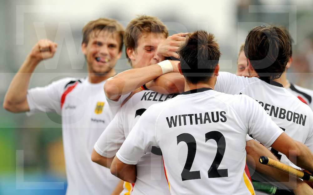 Beijing Olympic Green Hockey Stadium - Hockey.Germany - China 4-1.Goal Florian Keller L-to-R Moritz Fürste, Florian Keller, Matthias Witthaus and Tibor Weissenborn..photo:wsp/Frank Uijlenbroek.