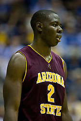 February 27, 2010; Berkeley, CA, USA; Arizona State Sun Devils center Eric Boateng (2) during the first half against the California Golden Bears at Haas Pavilion. California defeated Arizona State 62-46.