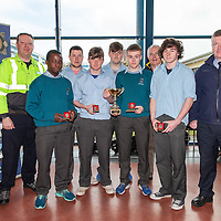 Garda Paul Clancy, Simba Makoni, Daragh McMahon, Brian O'Connor, Ian Collins, Shane Russell Andrew Russell and Sgt Seamus Mulligan with Jim Madden, Clare District Soccer League
