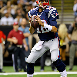 Aug 22, 2015; New Orleans, LA, USA; New England Patriots quarterback Tom Brady (12) against the New Orleans Saints during the first quarter of a preseason game at the Mercedes-Benz Superdome. Mandatory Credit: Derick E. Hingle-USA TODAY Sports