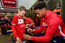 Mascots meet players in the changing room prior to kick off - Mandatory by-line: Ryan Hiscott/JMP - 27/10/2018 - FOOTBALL - Ashton Gate Stadium - Bristol, England - Bristol City v Stoke City - Sky Bet Championship