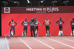 February 7, 2018 - Paris, Ile-de-France, France - From left to right : Ben Meite of Ivory Coast, Meba-mickael Zeze of France, Hassan Tafian of Iran, Jimmy Vicaut of France, Ojie Edoburun of Great Britain compete in 60m during the Athletics Indoor Meeting of Paris 2018, at AccorHotels Arena (Bercy) in Paris, France on February 7, 2018. (Credit Image: © Michel Stoupak/NurPhoto via ZUMA Press)