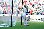 Swansea city's Wayne Routledge celebrates after he scores his sides 2nd goal. Barclays Premier league, Swansea city v Reading at the Liberty Stadium in Swansea, South Wales on Saturday 6th October 2012.   pic by  Andrew Orchard, Andrew Orchard sports photography,