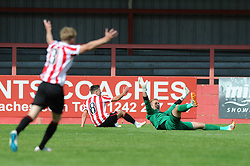 Steve Mildenhall of Bristol Rovers fouls Billy Waters of Cheltenham Town for a penalty - Mandatory by-line: Dougie Allward/JMP - 25/07/2015 - SPORT - FOOTBALL - Cheltenham Town,England - Whaddon Road - Cheltenham Town v Bristol Rovers - Pre-Season Friendly