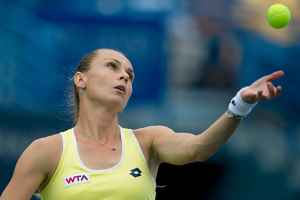 August 22, 2014, New Haven, CT:<br /> Magdalena Rybarikova serves during the semi-final match against Camila Giorgi on day eight of the 2014 Connecticut Open at the Yale University Tennis Center in New Haven, Connecticut Friday, August 22, 2014.<br /> (Photo by Billie Weiss/Connecticut Open)