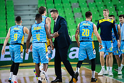 Goran Jagodnik with players  of KK Sixt Primorska during basketball match between KK Cedevita Olimpija and KK Sixt Primorska in Round #17 of ABA League 2019/20, on January 26, 2020 in Arena Stozice, Ljubljana, Slovenia. Photo By Grega Valancic / Sportida