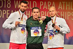 From left to right; T13 100m medalists Mateusz Michalski, POL, Silver, Jason Smyth, IRE, Gold, Jakub Nicpon, Bronze at the Berlin 2018 World Para Athletics European Championships