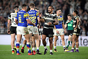 Hull FC and Leeds Rhinos players shake hands after the Betfred Super League match between Hull FC and Leeds Rhinos at Kingston Communications Stadium, Hull, United Kingdom on 19 April 2018. Picture by Mick Atkins.