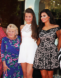 """© Licensed to London News Pictures. 15/08/2013. LONDON. Patricia """"Nanny Pat"""" Brooker, Natalia Wright & Jessica Wright, Jessica Wright - Pop-Up Store Launch, Westfield Stratford City, London UK, 15 August 2013. Photo credit : Brett D. Cove/Piqtured/LNP"""