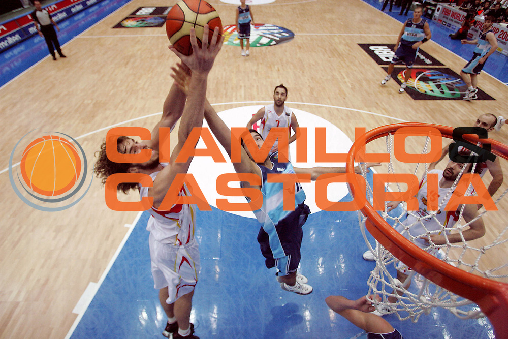 DESCRIZIONE : Saitama Giappone Japan Men World Championship 2006 Campionati Mondiali Semifinal Spain-Argentina <br /> GIOCATORE : Gasol Scola <br /> SQUADRA : Spain Spagna <br /> EVENTO : Saitama Giappone Japan Men World Championship 2006 Campionato Mondiale Semifinal Spain-Argentina <br /> GARA : Spain Argentina Spagna Argentina <br /> DATA : 01/09/2006 <br /> CATEGORIA : Special Sponsor Toyota <br /> SPORT : Pallacanestro <br /> AUTORE : Agenzia Ciamillo-Castoria/M.Ciamillo <br /> Galleria : Japan World Championship 2006<br /> Fotonotizia : Saitama Giappone Japan Men World Championship 2006 Campionati Mondiali Semifinal Spain-Argentina <br /> Predefinita :