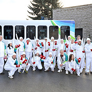 Whistler Olympic torch runners pose for a group photo.  February 5th, 2010.  Whistler BC, Canada..