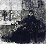 Histoires et Aventures'  Hans Christian Andersen (1805-1875) Danish author. Etching of Grandmother for 1909 edition.