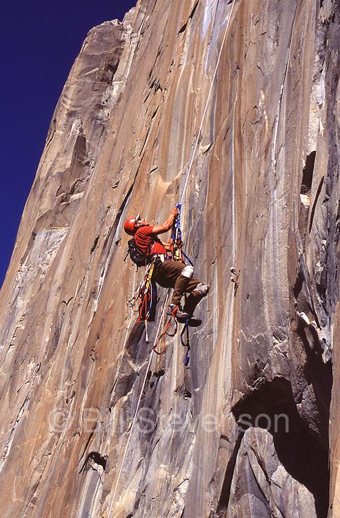 A man jumaring while rock climbing Sea of Dreams on El Capitan.