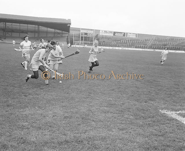 Dublin and Clare battle for possession during the Dublin v Clare All Ireland Junior Camogie Final in Croke Park on the 15th of September 1974.