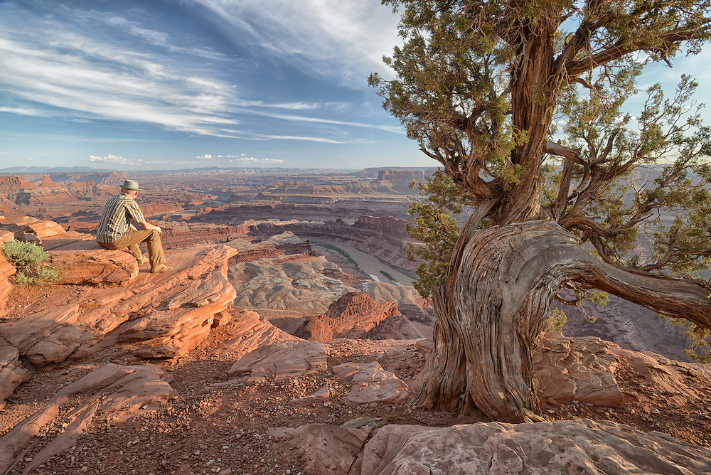 Man with hat at Deadhorse Point State Park, Moab,USA<br /> Model release 0038
