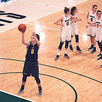 2nd year forward, Macaela Crone (8) of the Regina Cougars during the Women's Basketball Home Game on Sat Feb 02 at Centre for Kinesiology,Health and Sport. Credit: Arthur Ward/Arthur Images
