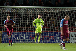 STEVENAGE, ENGLAND - Saturday, December 17, 2011: Tranmere Rovers' goalkeeper Paul Rachubka looks dejected as Stevenage score the winning second goal during the Football League One match at Broadhall Way. (Pic by David Rawcliffe/Propaganda)