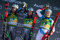 WINDINGSTAD Rasmus of Norway, KRISTOFFERSEN Henrik of Norway, ODERMATT Marco of Switzerland  at trophy ceremony  during the Audi FIS Alpine Ski World Cup Men's Giant Slalom 58th Vitranc Cup 2019 on March 9, 2019 in Podkoren, Kranjska Gora, Slovenia. Photo by Matic Ritonja / Sportida