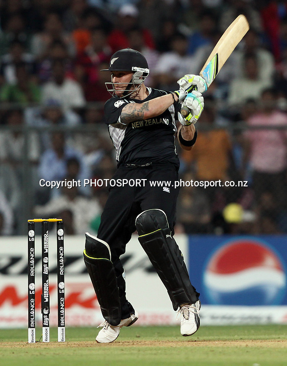 New Zealand batsman Brendon McCullum plays a shot During the ICC Cricket World Cup - 38th Match, Group A Sri Lanka vs New Zealand  Played at Wankhede Stadium, Mumbai (neutral venue) 18 March 2011 - day/night (50-over match)