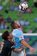 MELBOURNE, VIC - JANUARY 22: Melbourne City midfielder Florin Berenguer-Bohrer (27) heads the ball  at the Hyundai A-League Round 15 soccer match between Melbourne City FC and Western Sydney Wanderers at AAMI Park in VIC, Australia 22 January 2019. Image by (Speed Media/Icon Sportswire)