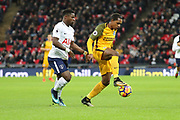 Brighton and Hove Albion midfielder Jose Izquierdo (19) taking on Serge Aurier of Tottenham Hotspur (24)  during the Premier League match between Tottenham Hotspur and Brighton and Hove Albion at Wembley Stadium, London, England on 13 December 2017. Photo by Matthew Redman.
