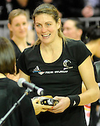 Irene Van Dyk Accepts her award for her 200th game for the Silver Ferns, during New World Netball Series, New Zealand Silver Ferns v England at The ILT Velodrome, Invercargill, New Zealand. Thursday 6 October 2011 . Photo: Richard Hood photosport.co.nz