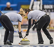 "Glasgow. SCOTLAND.  Russia's {L} Galina ARSENKINA and Julia PORTUNOVA, sweeping, during  the ""Round Robin"" Game.  Scotland vs Russia,  Le Gruyère European Curling Championships. 2016 Venue, Braehead  Scotland<br /> Thursday  24/11/2016<br /> <br /> [Mandatory Credit; Peter Spurrier/Intersport-images]"