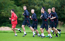 CARDIFF, WALES - Friday, September 5, 2008: Wales' match-winning hero against Azerbaijan, Sam Vokes, leads the side during training at Vale of Glamorgan Hotel ahead of the second 2010 FIFA World Cup South Africa Qualifying Group 4 match against Russia. (Photo by David Rawcliffe/Propaganda)