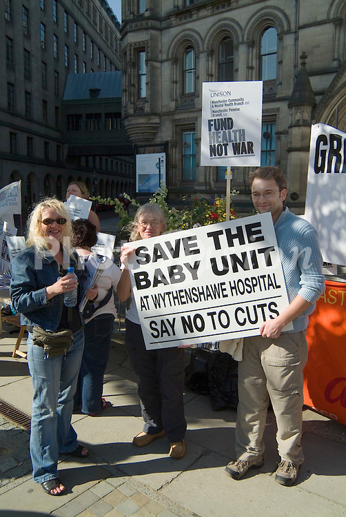 Health protest during anti war demo in Manchester during New Labour Party conference; September 2006 UK