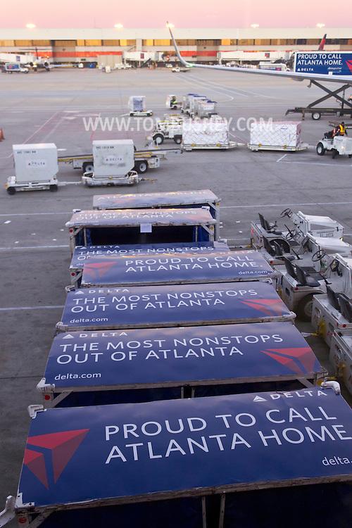 Atlanta, Georgia - Delta airlines jets are prepared for flights at Hartsfield-Jackson Atlanta International Airport on Feb. 3, 2013.