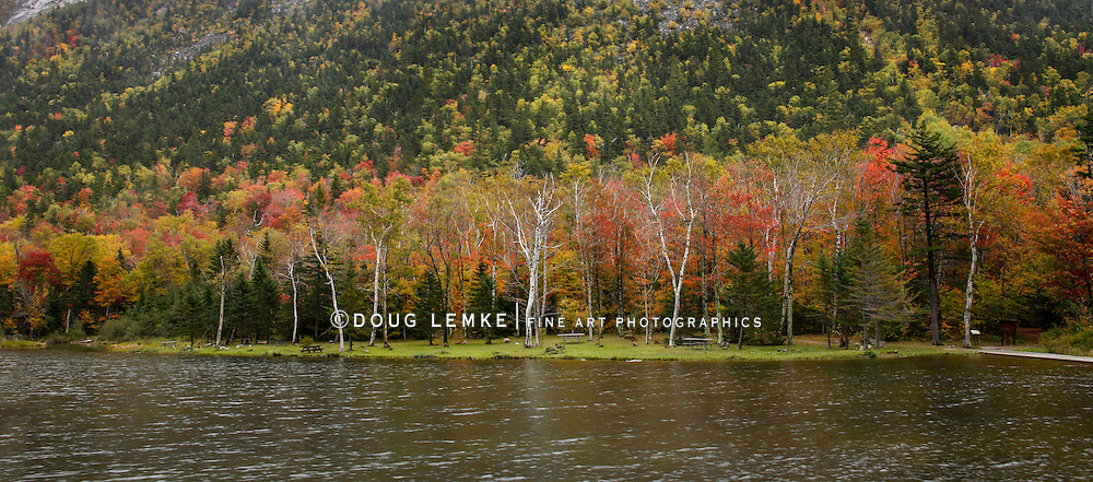 A Mountain Lake During Autumn At Crawford Notch State Park, White Mountains, New Hampshire, USA