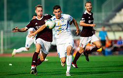 Žan Rogelj of Triglav vs Luka Kerin of Celje during football match between NK Triglav and NK Celje in 7th Round of Prva liga Telekom Slovenije 2019/20, on August 25, 2019 in Sports park, Kranj, Slovenia. Photo by Vid Ponikvar / Sportida