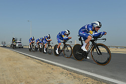 February 24, 2019 - Abu Dhabi, United Arab Emirates - Elia Viviani (Right) of Italy leads Team Deceuninck-QuickStep, during the Team Time Trial, the opening ADNOC stage of the inaugural UAE Tour 2019..On Sunday, February 24, 2019, Abu Dhabi, United Arab Emirates. (Credit Image: © Artur Widak/NurPhoto via ZUMA Press)