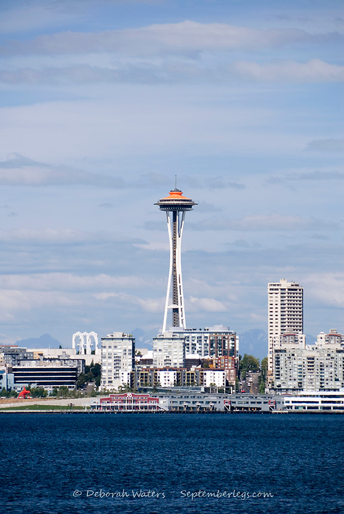 View across Elliott Bay to the Seattle Space Needle, from Alki, West Seattle, USA