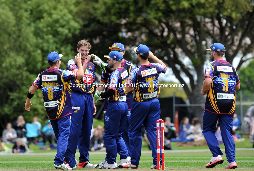 Otago's Warren Barnes celebrate the wicket of Canterbury's Ronnie Hira in the Georgie Pie Super Smash Twenty20 cricket match between the Otago Volts v Canterbury Kings held at the University Oval, Dunedin. 29 November 2015.Georgie Pie Super Smash Twenty20 cricket match between the Otago Volts v Caterbury Kings held at the University Oval, Dunedin. 29 November 2015.