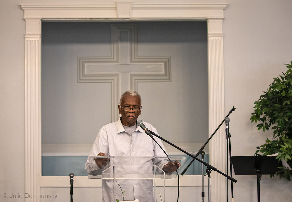 Robert Taylor, the founder of  Concerned Citizen of St John at a  public meeting at the Tchopitoulas Chapel. The meetings is about pollution from the Denka plant near by that emmtis chloroprene while manufacturing Neoprene, a type of rubber used in wetsuits and numerous other products. Chloroprene is a likely human carcinogen.