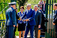VUREN - 10-05-2017 Lingewaal Pieter van Vollenhoven during the opening of the WWII and Flyers museum ( Vliegeniersmuseum) in Fort Vuren.<br /> The museum is a tribute to the crew of 6 allied aircraft which were crashed during WWII. kus/kiss<br /> Revealing a plaqette with Mara Barrett, sister of the late pilot Jack Lunn and Doreen Scarff, wife of pilot Basil Scarff.  Pieter van Vollenhoven opent het WOII en Vliegeniersmuseum in Fort Vuren. Het museum vormt samen met een herinneringsroute een eerbetoon aan de bemanning van zes geallieerde vliegtuigen die tijdens de Tweede Wereldoorlog zijn neergestort op grondgebied van de huidige gemeente Lingewaal. copyright robin utrecht