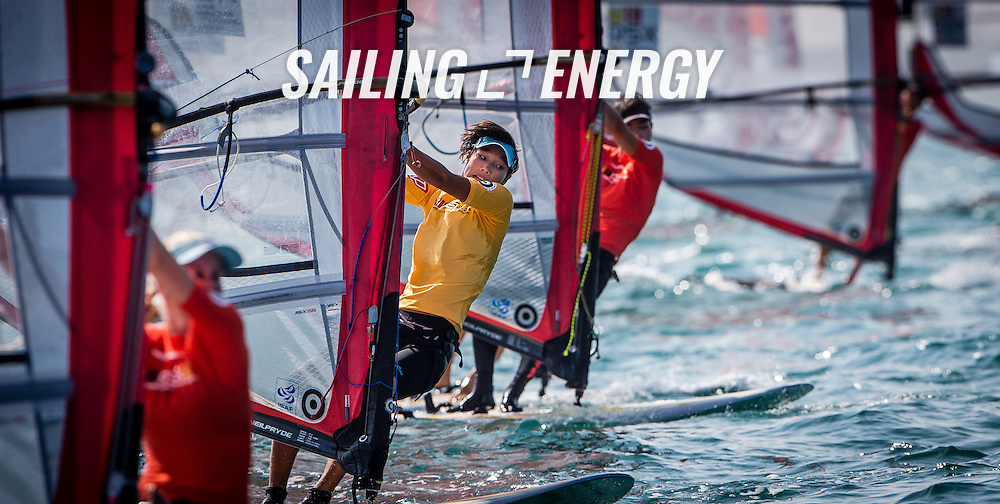 RS:X WORLD CHAMPIONSHIP 2015, October 17th-24th Al Mussanah Sports City, Sultanate. 3rd day of racing, golden fleets 22.10.2015. CHN  81 Peina Chen<br /> <br /> Credit Jesus Renedo/Oman Sail
