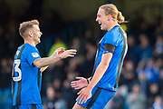 Gillingham FC forward Tom Eaves (9) scores a goal (2-0) and celebrates with team mate Gillingham FC midfielder Mark Byrne (33) during the EFL Sky Bet League 1 match between Gillingham and Fleetwood Town at the MEMS Priestfield Stadium, Gillingham, England on 3 November 2018.<br /> Photo Martin Cole