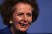 Ex-British Prime Minister Margaret Thatcher smiles at delegates during the 1991 Tory party conference, on 11th October 1991, in Blackpool, England. Two years after her colleagues deposed her, forcing her to resign from her 11 year premiership she is still in favour by Conservatives who are proud to display her in public, before eventually shunning her policies and profile for their campaigns. Thatcher has been lending her support to her replacement, the former Chancellor and Foreign Secretary, but the otherwise unknown John Major who governed until 1997.